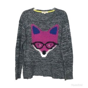 Rewind Juniors Gray Marled Fox Sweater Medium